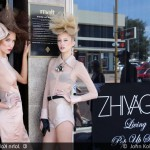 Models posing outside the Zhivago Pop Up Store