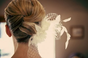 Above the shoulder wedding hair style