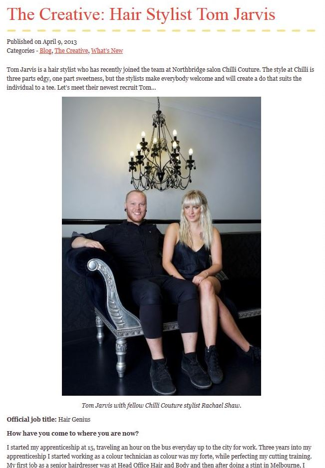 Chilli Couture Hairdresser Tom Jarvis at We Love Perth