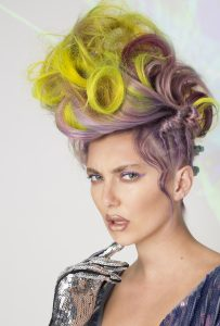AHFA Awards Chilli Couture  Photo Entry - Purple to Yellow Big Curls Up Do